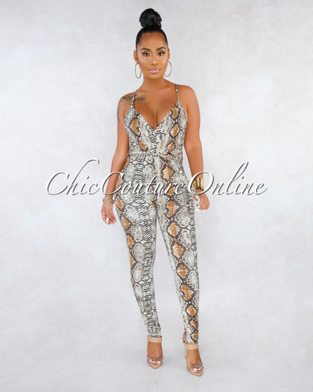 Bandele Brown Snake Print Self-Tie Belt Jumpsuit