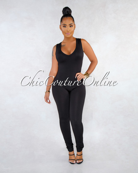 Mirana Black V Neck Racer Back Jumpsuit