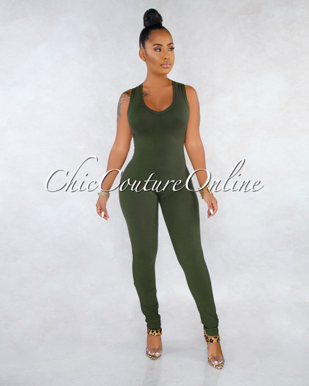 Mirana Military Green V Neck Racer Back Jumpsuit