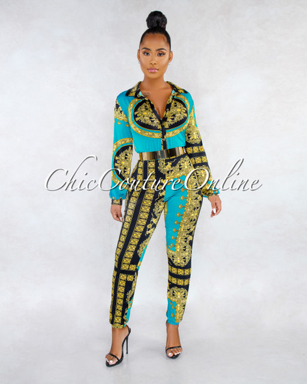 Cora Teal Black White Gold Print Jogger Jumpsuit