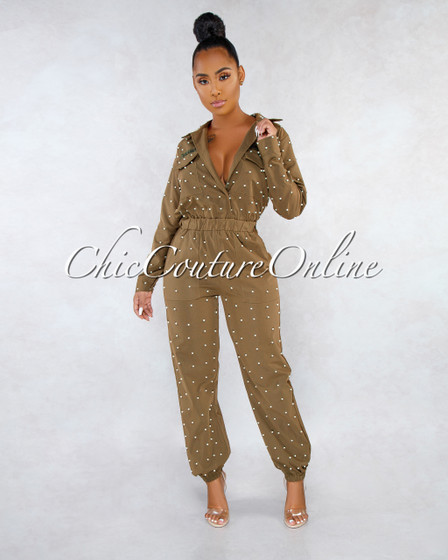 US ARMY Olive Green Pearl Embellished Utility Jumpsuit