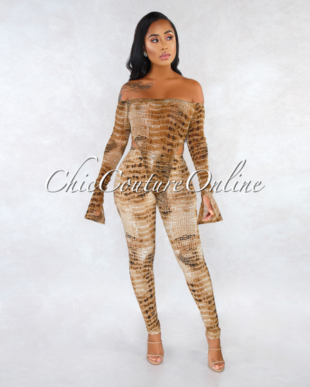 Xander Brown Snake Print Mesh Two Piece Bodysuit Set