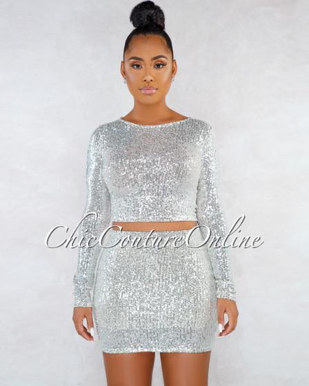 Segal Silver Sequins Long Sleeves Top Mini Skirt Set