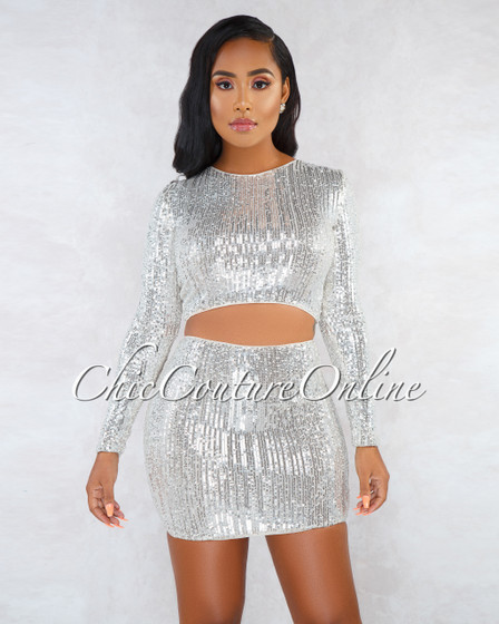 Asaiah Nude Silver Sequins Long Sleeves Top Mini Skirt Set