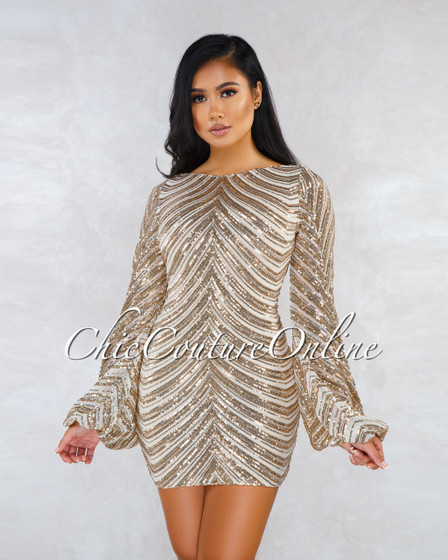 Robbie Nude Rose Gold Sequins Puffy Sleeves Mini Dress