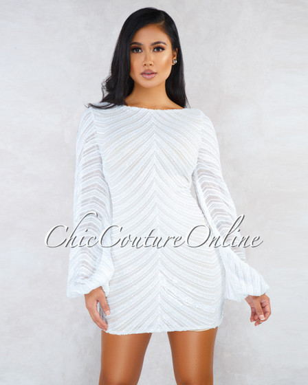 Robbie Off-White Sequins Puffy Sleeves Mini Dress