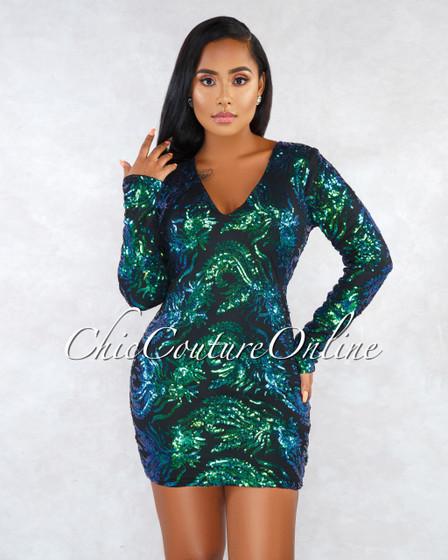 Dasia Black Green Iridescent Sequins Paisley Print Mini Dress
