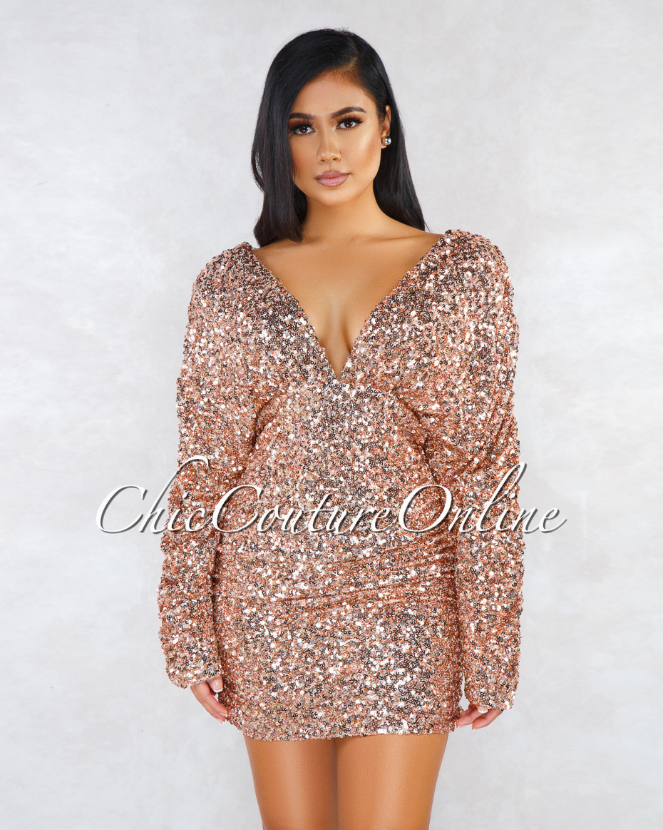 Yulis Rose Gold Sequins V Neck Ruched Mini Dress by Chic Couture