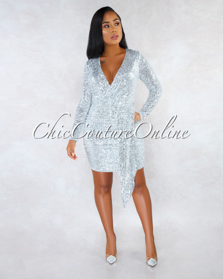 Palmeira Silver Sequins Drap Details Overlay Mini Dress