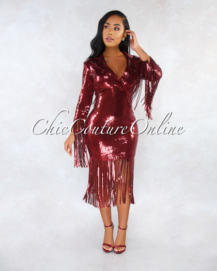 Ritzy Burgundy Sequins Trench Neck Fringe Details Midi Dress