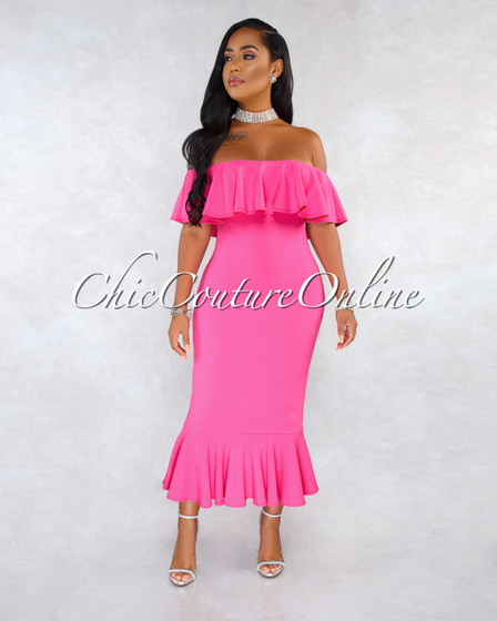 Novelli Fuchsia Off-The-Shoulder Ruffle Midi Dress