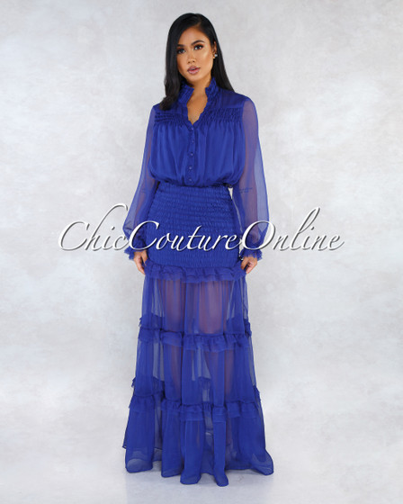 Deidra Royal Blue Smocked Ruffle Shift Maxi Dress