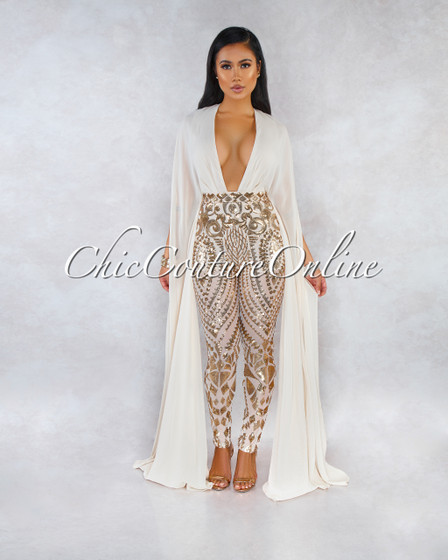Breathtaking Nude Gold Sequins Long Sleeves Accent Jumpsuit