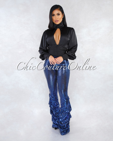 Adara Royal Blue Sequin Ruched Legs Pants
