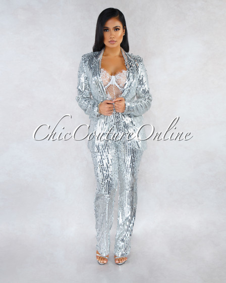 Tierra Silver Sequins Jacket Two Piece Suit Set