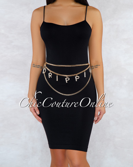 Drippin Gold Plate Double Layer Letters Chain Belt