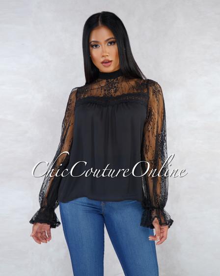 Bridgette Black Lace Long Sleeves Shift Blouse