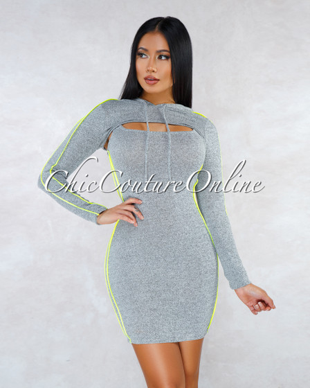 Danity Gray Neon Lime  Hooded Top Mini Dress Set