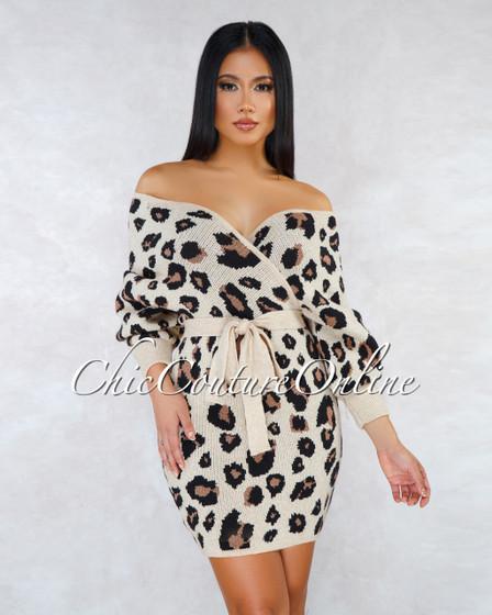 Sam Nude Leopard Print Wrap Knit Sweater Dress
