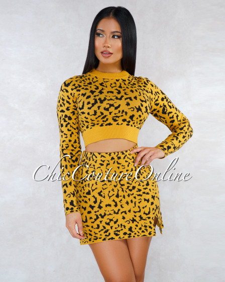 Audrey Mustard Black Leopard Print Knit Two Piece Set