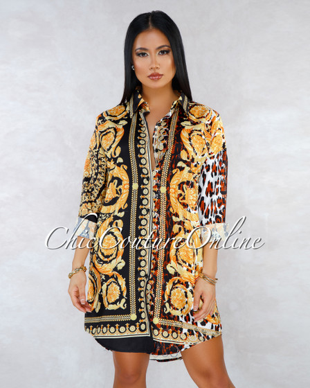Steffy Gold Leopard Print Long Sleeves Over-sized Shirt Dress