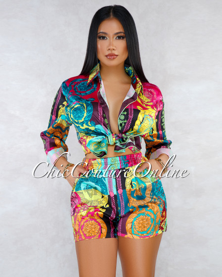 Axella Black Turquoise Print Long Sleeves Shirt Shorts Set