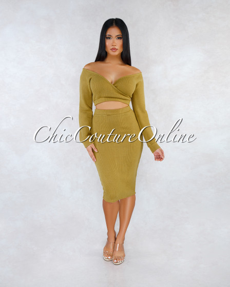 Nadine Olive Green Wrap Crop Sweater Midi Skirt Set