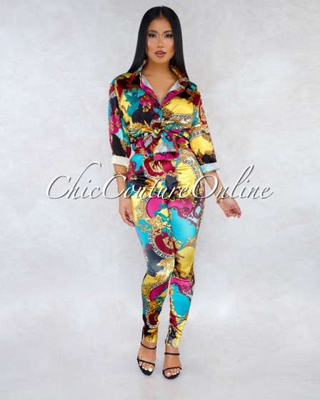 Blake Multi Color Print Silky Blouse Two Piece Set