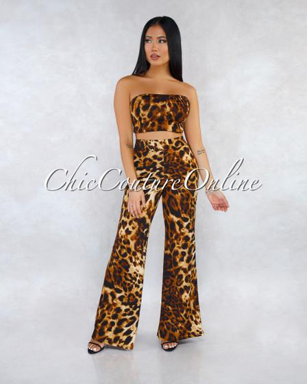 Charisse Leopard Print Lace-Up Top Wide Pants Two Piece Set