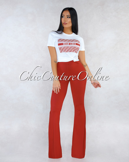 Marga Off-White T-Shirt Tomato Pants Two Piece Set