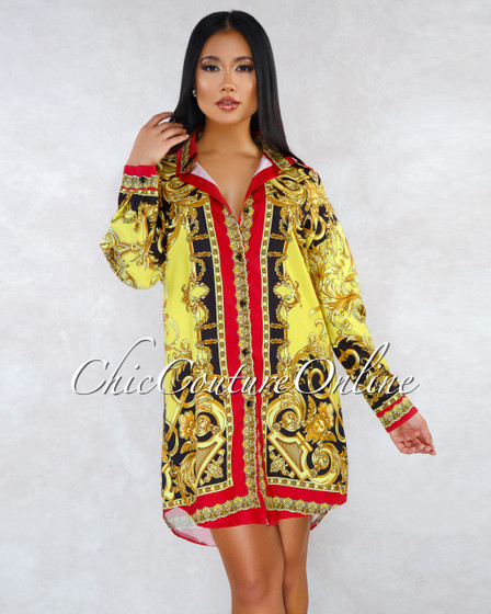 Antonietta Red Gold Print Long Sleeves Over-sized Shirt Dress