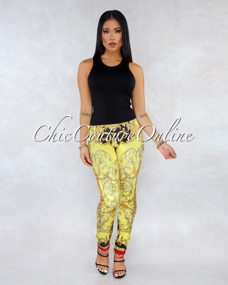Kalor Red Black Multi-Color Print Leggings