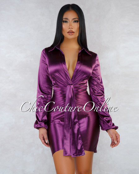 Reyes Purple Silky Long Sleeves Front Knot Mini Dress
