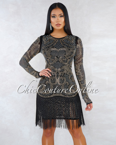 Sheeva Black Rhinestones Fringe Bottom Midi Dress