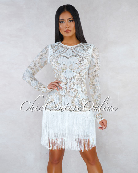 Sheeva Off-White Rhinestones Fringe Bottom Midi Dress
