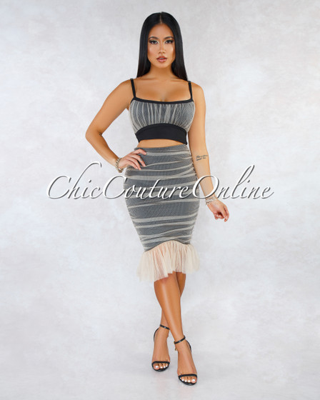 Declan Black Nude Mesh Ruched Bandage Two Piece Set