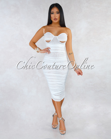 Graham Off-White Mesh Ruched Cut-Out Cups Midi Dress