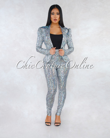 Elysa Black Silver Iridescent Jacket Two Piece Suit Set