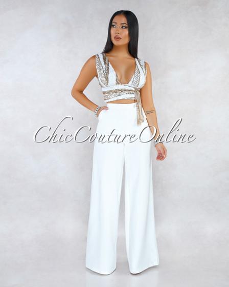 Blithe Off-White Gold Sequins Wrap Top Wide Pants Set