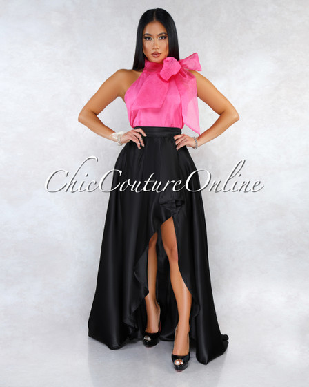 Heller Black Satin Pleated Side Slit Luxe Maxi Skirt