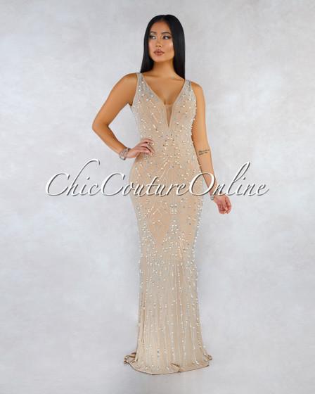 Peace Nude Rhinestones Pearl Embellished Maxi Dress