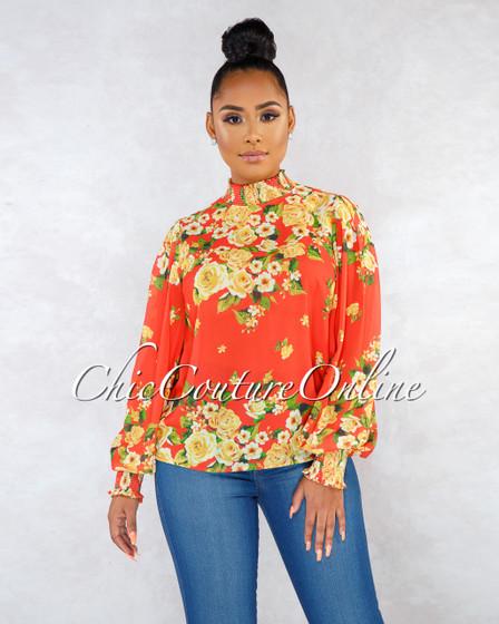Claritza Orange Multi-Color Floral Print Long Sleeves Blouse
