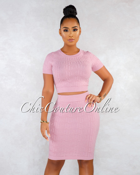Canalie Blush Fret Texture Two Piece Skirt Set