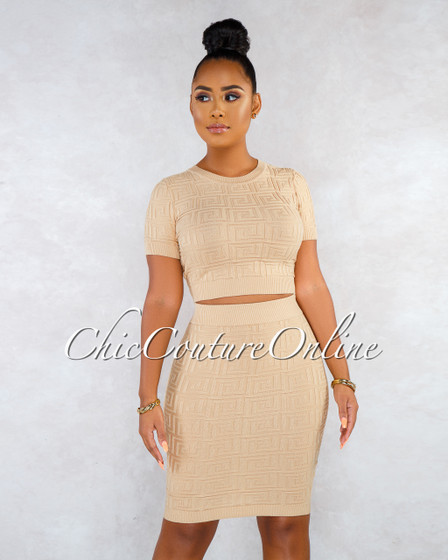 Canalie Almond Fret Texture Two Piece Skirt Set