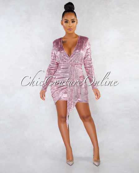Sonia Pink Sequins Drap Details Overlay Mini Dress