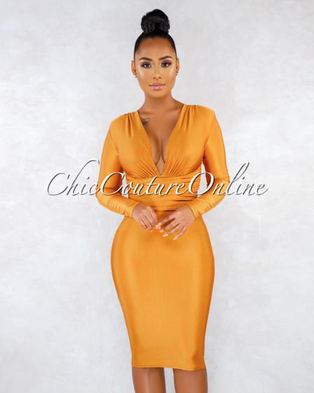 Zulia Mustard Yellow V-Neck Draped Waist Midi Dress