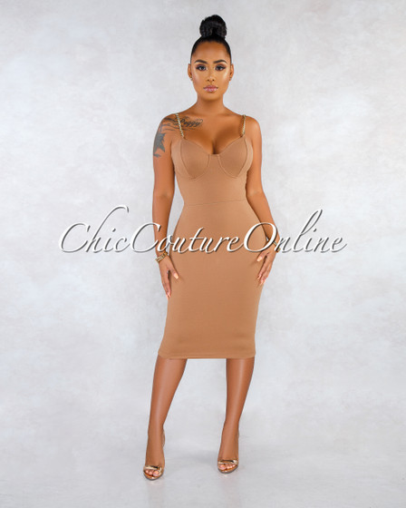 Salime Mocha Gold Chain Straps Midi Dress