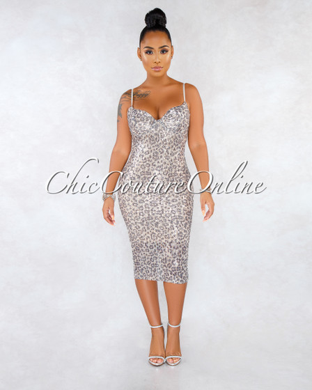Mayla Leopard Print Silver Sequins Midi Dress