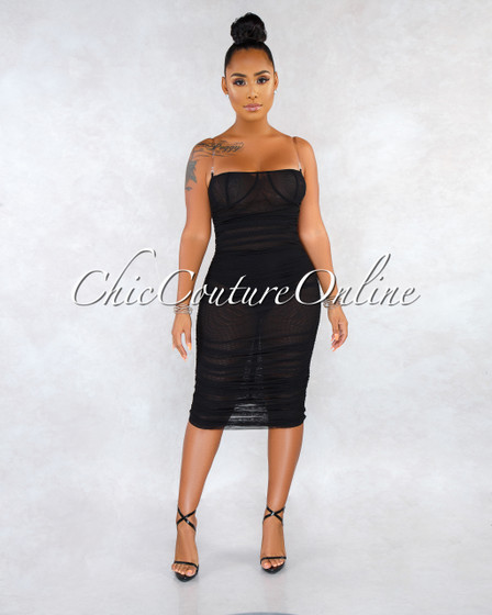 Enaya Black Mesh See-Through Ruched Clear Straps Dress