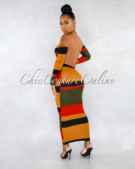 Jennie Olive Mustard Multi-Color Stripes Open Back Dress